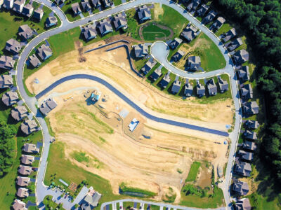 Aerial view of a residential neighborhood recently excavated [::]Honeycroft Village Residential Project in Cochranville, PA